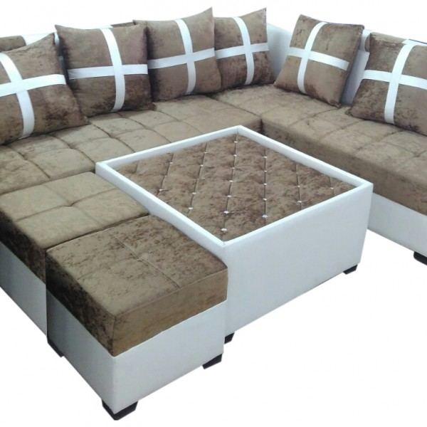 Sofa Centre Table: Delphia L Shape Sofa Set,Center Table And 2 Puffy