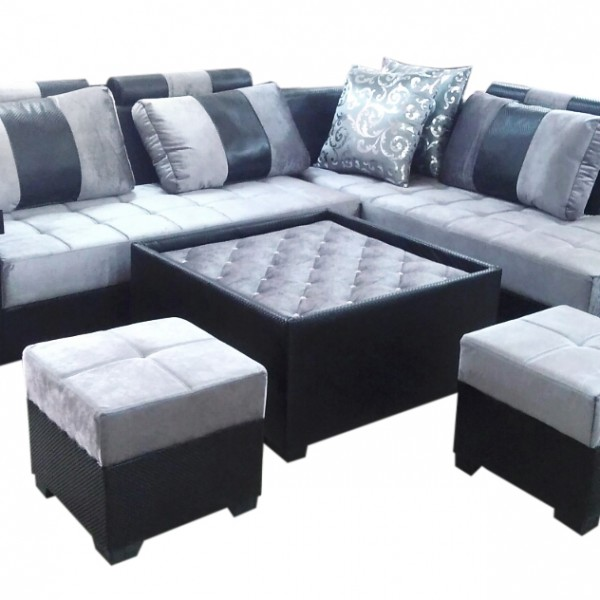 Sofa Set On Sale In Gurgaon: Lambert L Shape Sofa Set, Center Table And 2 Puffy