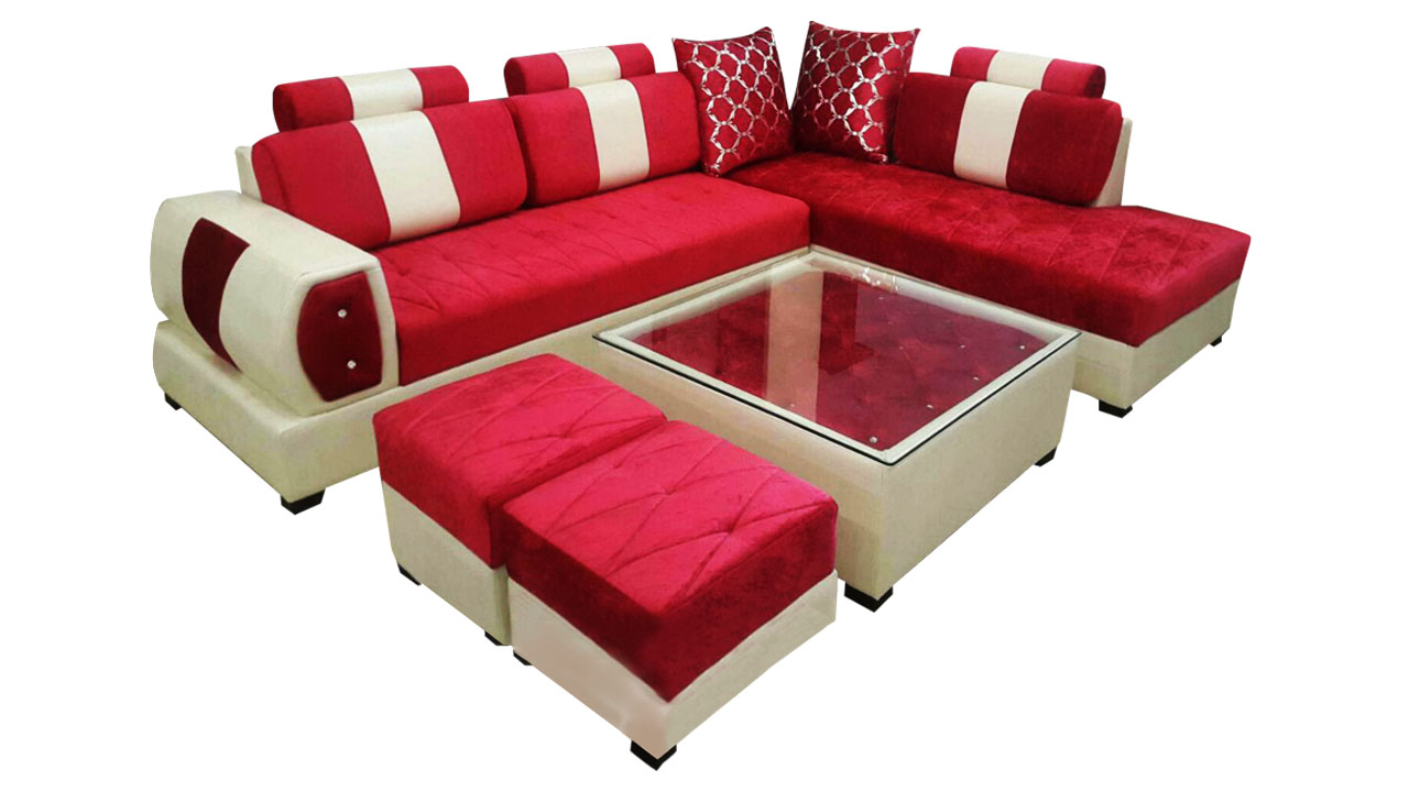 Delroy L Shape Sofa Set Center Table And 2 Puffy Dream