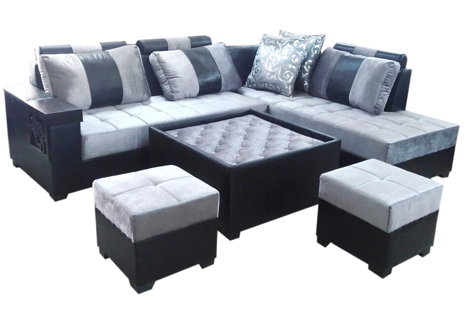 Lambert L Shape Sofa Set Center Table And 2 Puffy Dream