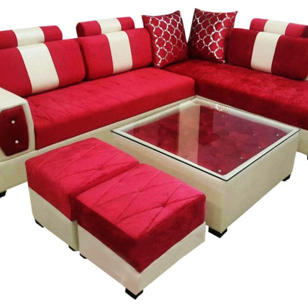 Sofa Centre Table: Delroy L Shape Sofa Set,Center Table And 2 Puffy