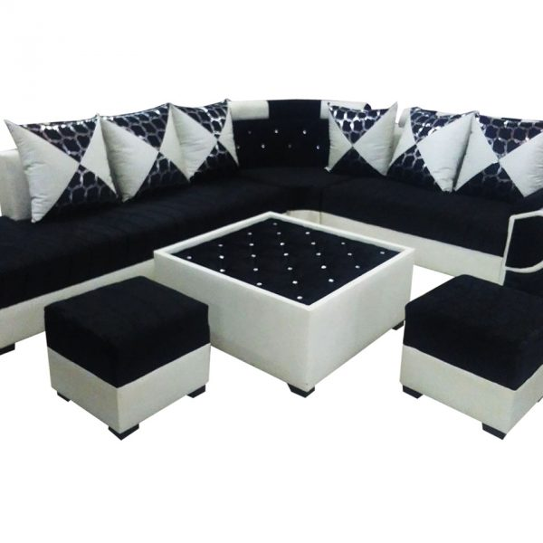 Sofa Centre Table: Felicite L Shape Sofa Set,Center Table And 2 Puffy