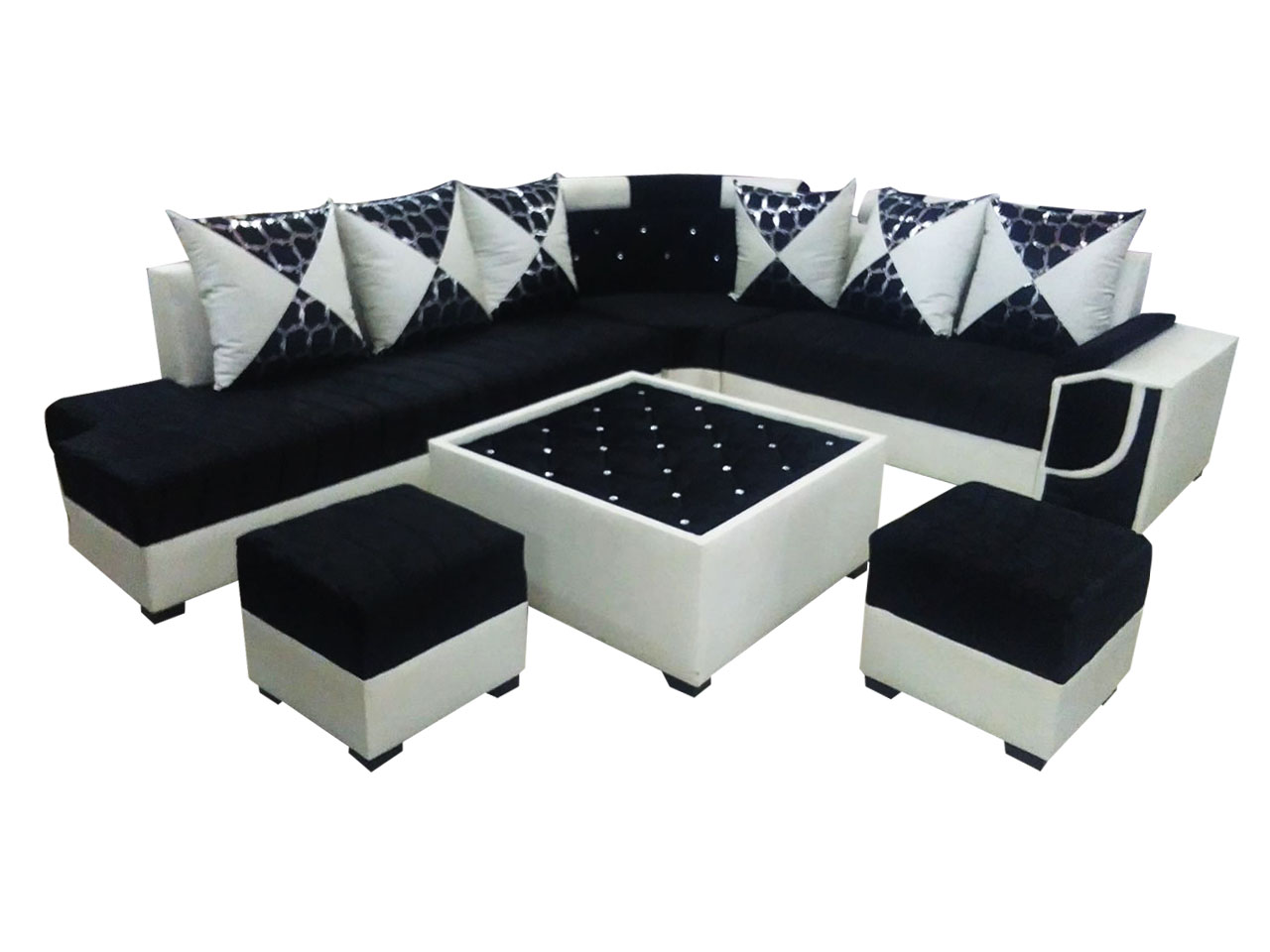 Felicite L Shape Sofa Set Center Table And 2 Puffy